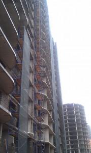Монтаж вентилируемого фасада Керамогранит с креплением подсистемы в межэтажные перекрытия